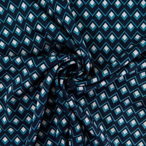 Tissu viscose bleu imprimé géométrique