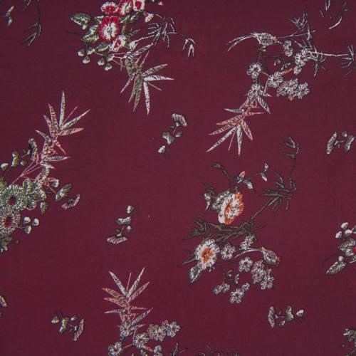 Satin pourpre motif fleurs