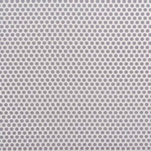 Popeline de coton motif octogramme gris