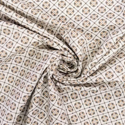 Popeline de coton motif mosaïque sable