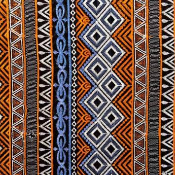 Voile noir broderies ethniques blanches, bleues et oranges