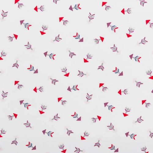 Popeline de coton blanche motif flèche multicolore