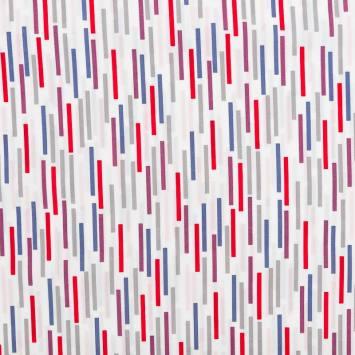 Popeline de coton blanche motif trait violet
