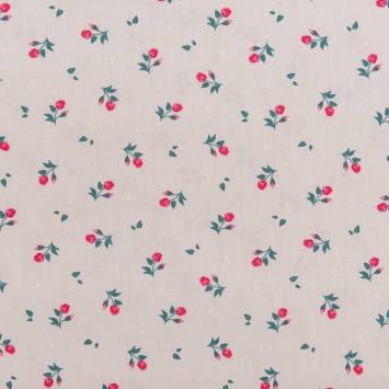 Popeline de coton grise motif moyenne rose