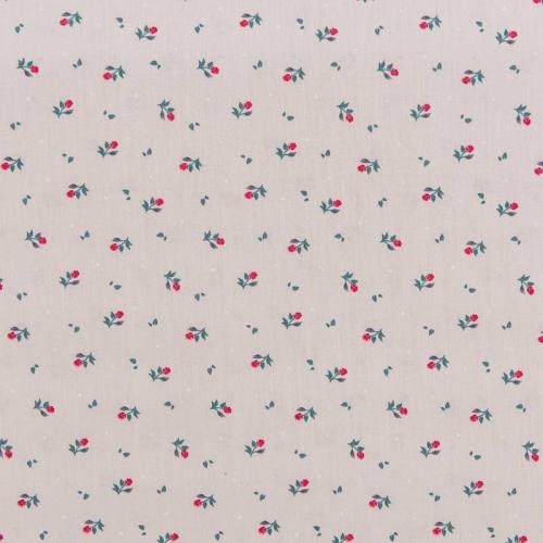Popeline de coton grise motif petite rose