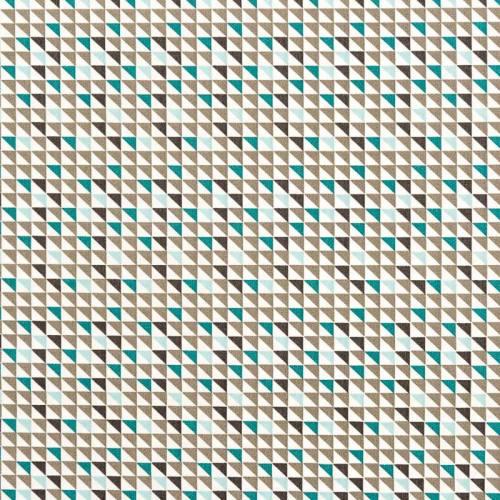 Popeline de coton blanche motif triangle gris et vert