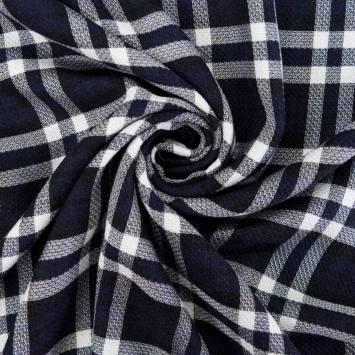 Tissu viscose imprimé carreau bleu