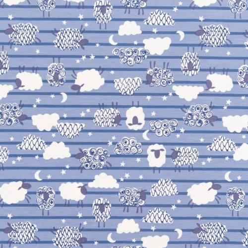Jersey bleu motif moutons et nuit étoilée