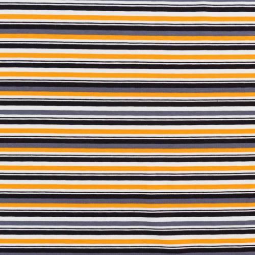 Jersey blanc motif rayures oranges et grises
