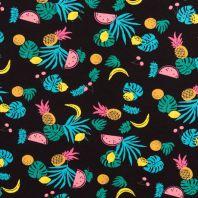 Jersey noir motif multi-fruits