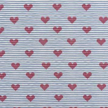 Jersey blanc motif rayure et coeur