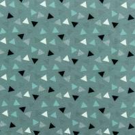 Jersey vert motif triangle blanc, noir et vert