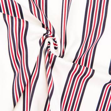 Tissu rayonne écru rayures bleu marine et rouges