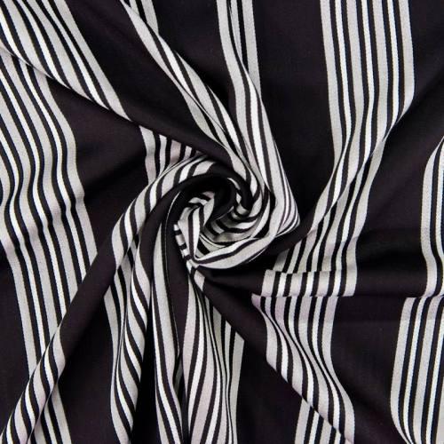 Tissu rayonne noir rayures grises