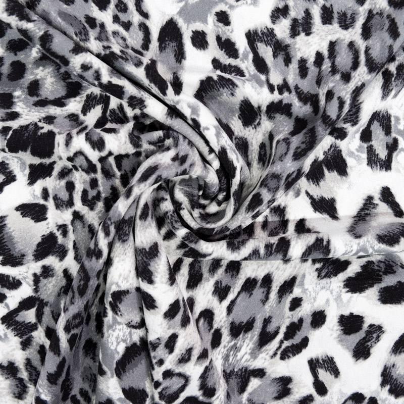 Tissu scuba crêpe imprimé guépard gris