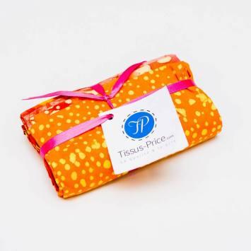 Lot de 5 coupons 44X54cm orange motif batik