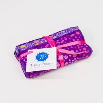 Lot de 5 coupons 44X54cm violet motif batik
