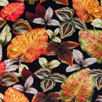 Jersey impression numérique motif feuille orange