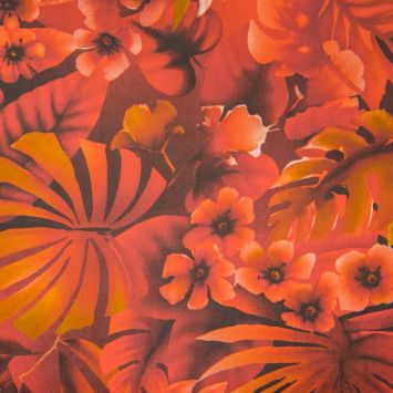 Mousseline impression jungle rouge