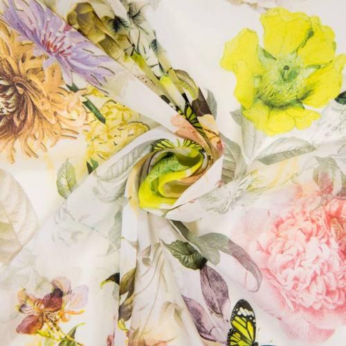 Mousseline écrue motif fleurs et papillon tendance jaune