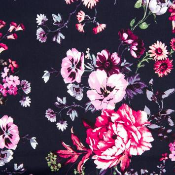Satin de coton bleu imprimé fleur violette