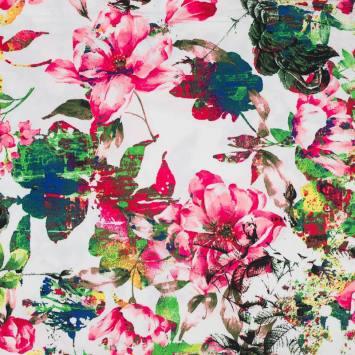 Satin de coton blanc imprimé fleur rose et verte