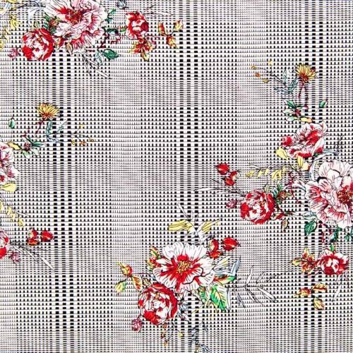 Satin de coton carreau et fleur dessinée