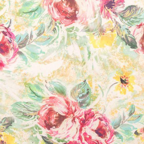 Mousseline verte motif roses peintes