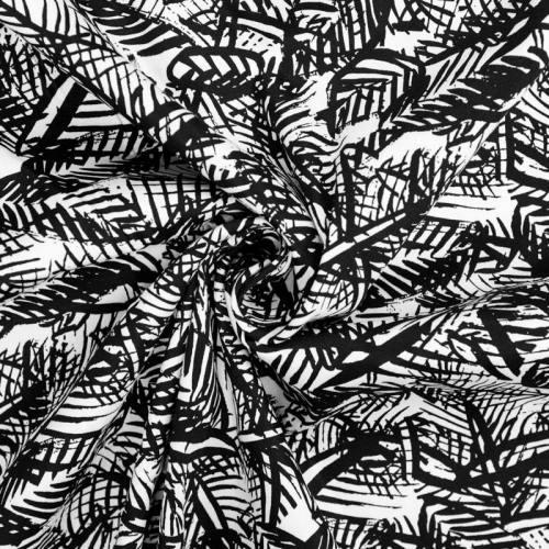 Satin de coton noir feuillage
