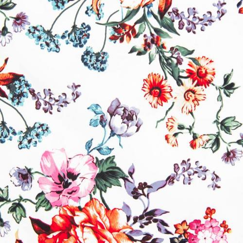 Satin de coton blanc imprimé fleur vieillie