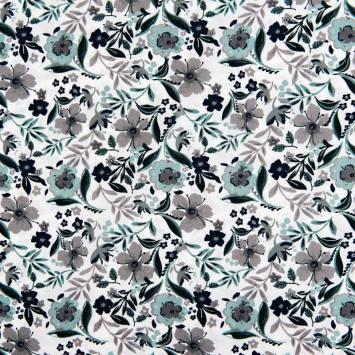 Popeline de coton blanche motif fleurs vertes et grises