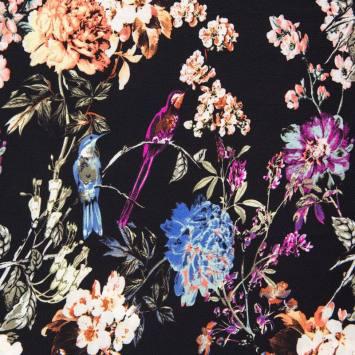 Tissu crêpe noir motif fleur