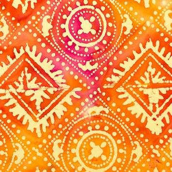 Coupon batik 44X54 cm orange motif géométrique