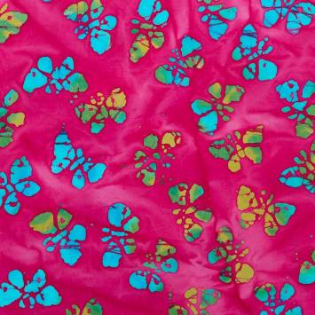 Coupon batik 44x54 cm rose motif papillon