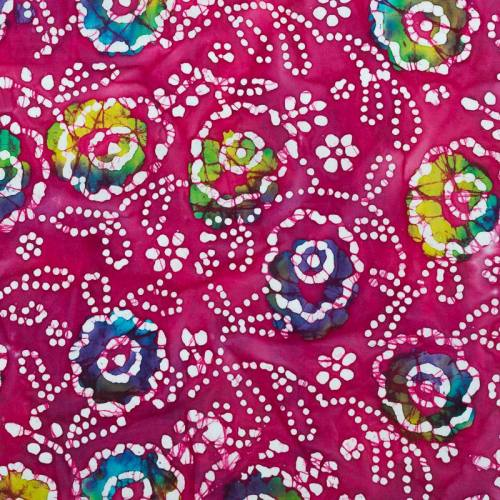 Coupon batik 44x54 cm rose motif fleur