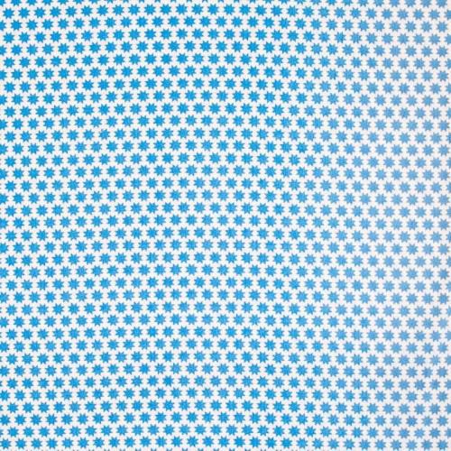 Popeline de coton motif octogramme bleu