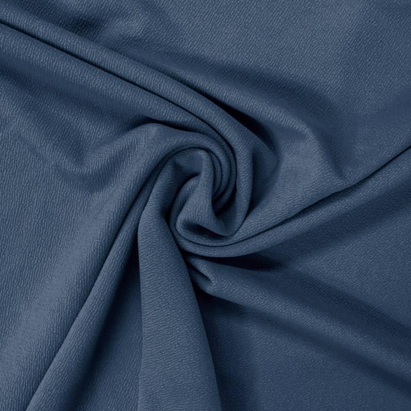 Tissu crêpe satiné bleu