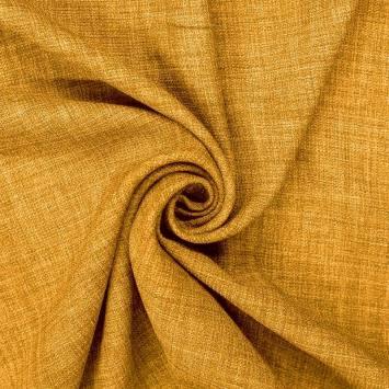 Tissu aspect lin ocre
