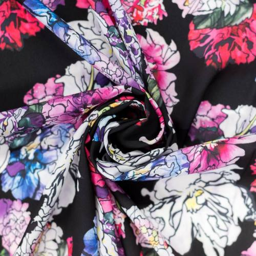 Mousseline crêpe noire motif dahlia