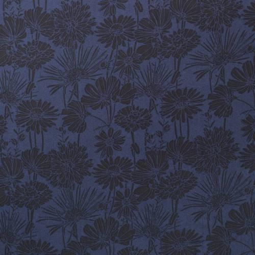 Mousseline crêpe bleu marine motif fleur noire