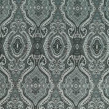 Mousseline crêpe grise motif mandala cachemire