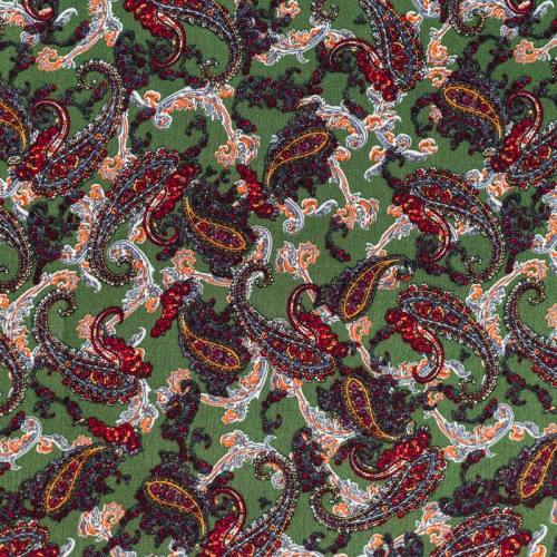 Tissu crêpe viscose vert motif cachemire rouge
