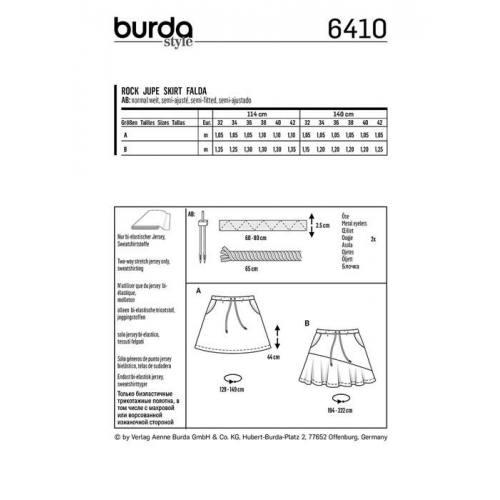 Patron Burda 6410 : Jupe Taille 32-42