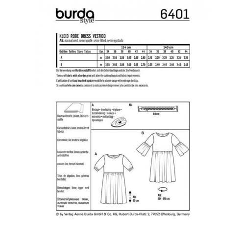 Patron Burda 6401 : Robe Taille 34-44