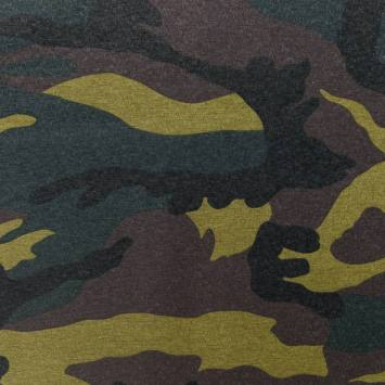 Toile polycoton enduite motif camouflage