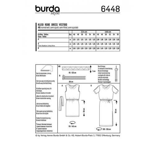 Patron Burda 6448 : Robe Taille 46-56