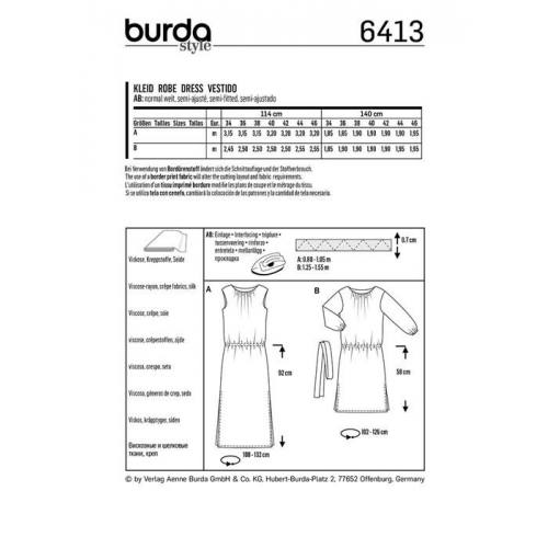 Patron Burda 6413 : Robe Taille 34-46