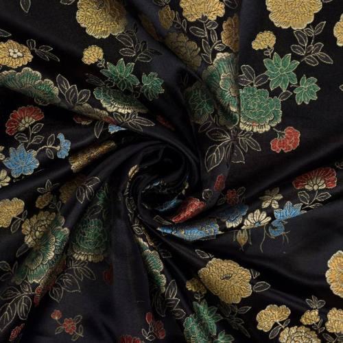 Satin asiatique noir motif fleur rouge vert et bleu