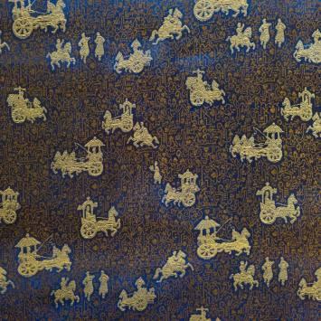 Satin asiatique bleu motif personnage doré