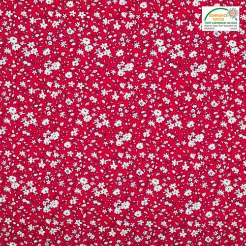Coton liberty rouge et blanc